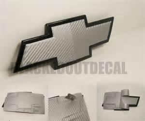 2 silver carbon fiber chevy bowtie vinyl overlay sheets emblem