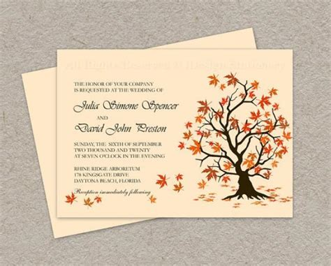 fall printable wedding invitation templates diy fall wedding invitation printable fall leaves wedding