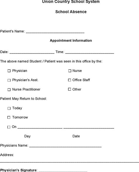 absent notes for school templates doctors note templates for free tidytemplates