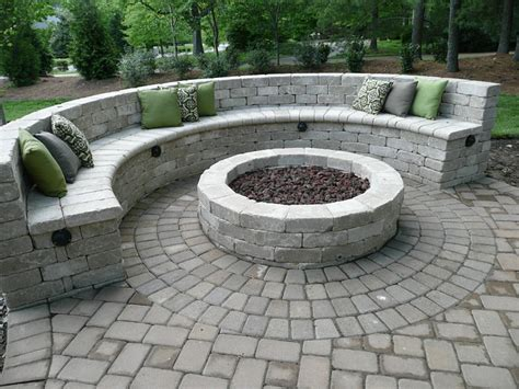 diy half circle bench pit with seating wall fireplace design ideas