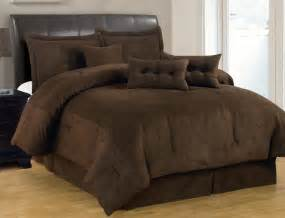 brown comforter 7 pc solid brown comforter set micro suede size bed