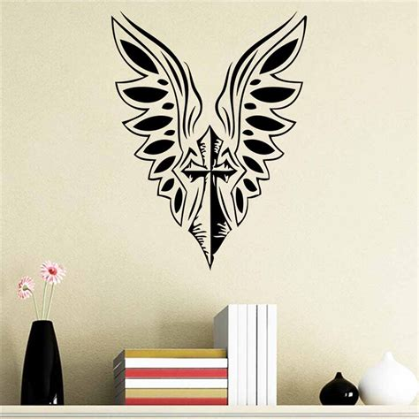 new diy cross christian characters vinyl wall stickers popular angel wings decals buy cheap angel wings decals