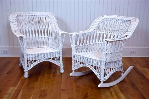 Antique Wicker Chairs by Antique Wicker Chair And Rocker At 1stdibs
