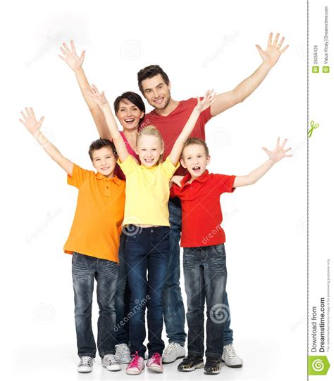 Family It Up by Happy Family With Raised Up Stock Photo Image