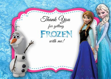 Frozen Thank You Card Template by Frozen Thank You Card 5x7 Instant