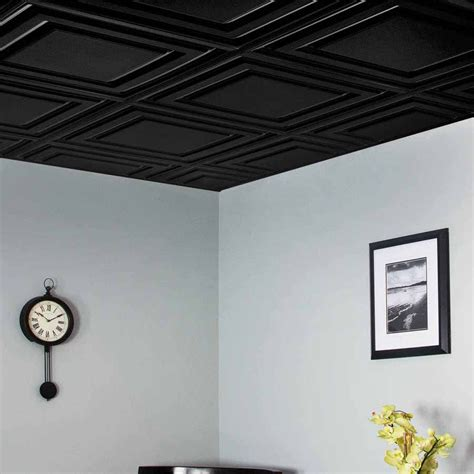 genesis ceiling tile 2x2 icon relief tile in black