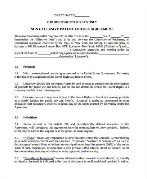 11 License Agreement Short Forms Pdf Doc Non Exclusive Patent License Agreement Template