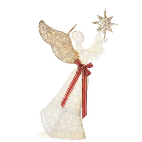 angel decorations for home home accents holiday 70 in 210 light led pvc angel and star ty330 1711 4 the home depot