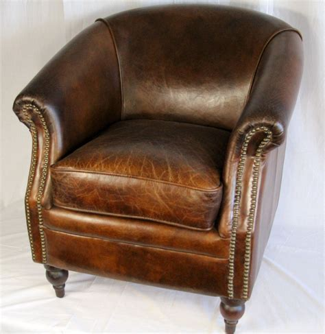 Small Brown Leather Armchair by 27 034 Wide Club Arm Chair Vintage Brown Cigar Italian
