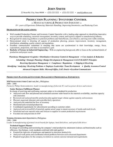 production planner resume production planner or inventory controller resume template