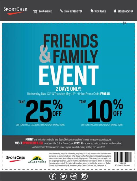 Friends And Family Discount At Prescriptives by Sport Chek Sport Chek Friends Family May 13 14
