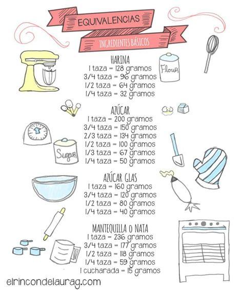 equivalencias cocina equivalencias cocina gramos tazas cucina pinterest