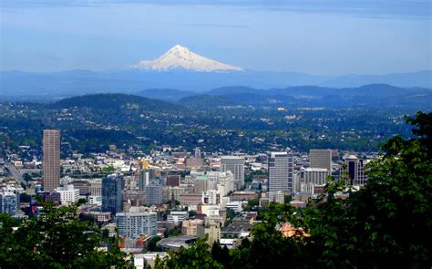 mt hood and downtown portland oregon by rutabagas photo