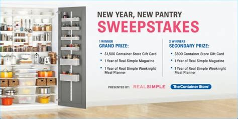 Real Simple Sweepstakes - real simple magazine the container store sweepstakes