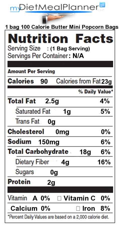 Nutrition facts Label   Snacks 1   mydietmealplanner.com