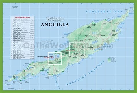 anguilla world map map of anguilla with hotels and resorts
