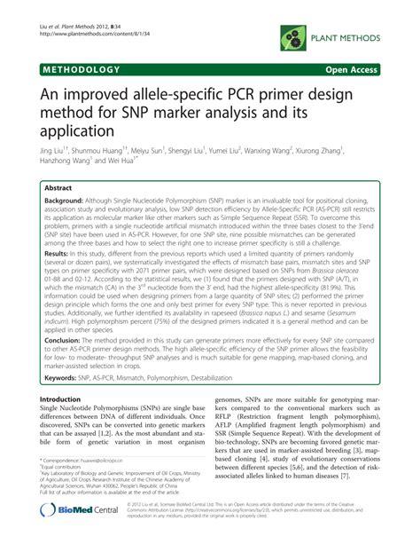 design analysis application an improved allele specific pcr primer pdf download