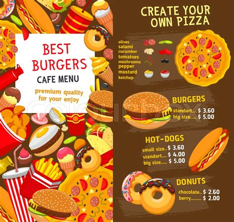 Fast Food Menu Card Templates by Fast Food Restaurant Burgers And Sandwiches Menu Template