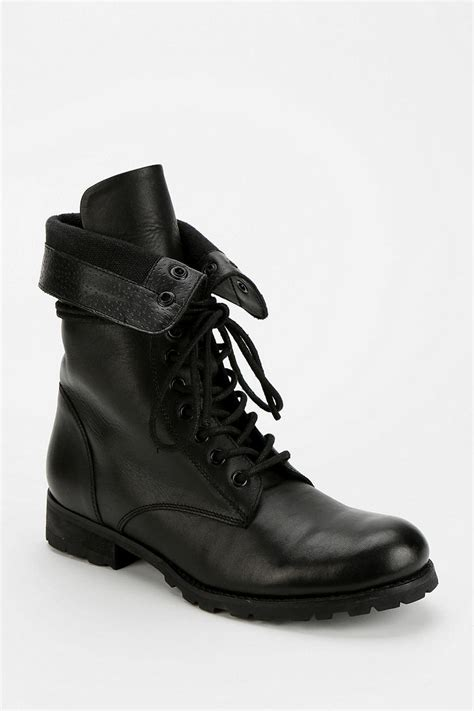 mens fold combat boots outfitters deena ozzy foldover combat boot in black