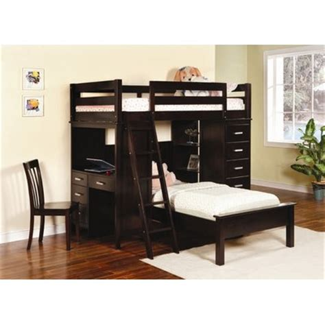 L Shaped Bunk Beds With Desk Wildon Home 174 Depoe Bay L Shaped Bunk Bed With Desk And Bookshelves Reviews
