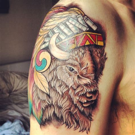native american headdress tattoo bison tattoos the o jays buffalo