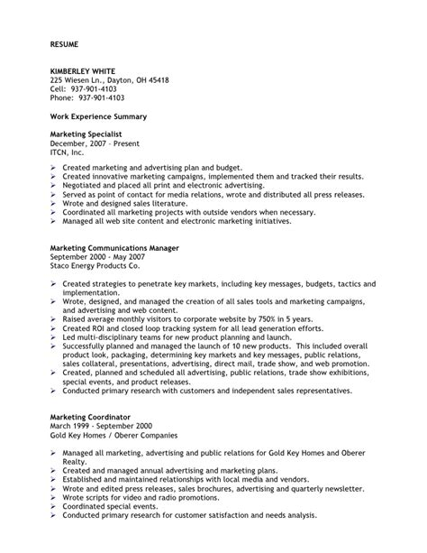 promotion on resume kimberley white resume professional marketing