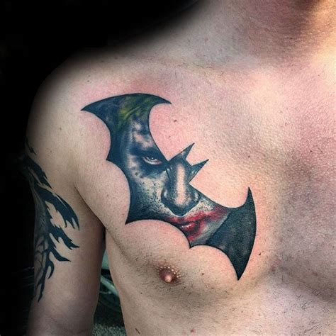 batman tattoo on chest 90 joker tattoos for men iconic villain design ideas
