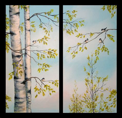 acrylic tree painting birch trees feathered friends acrylic