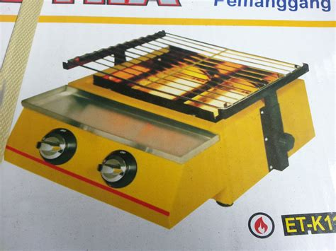 Crown Panggangan Gas Roaster 4 Burner Alat Pemanggang Daging Sate Gril jual getra commercial gas barbeque burner 2 tungku