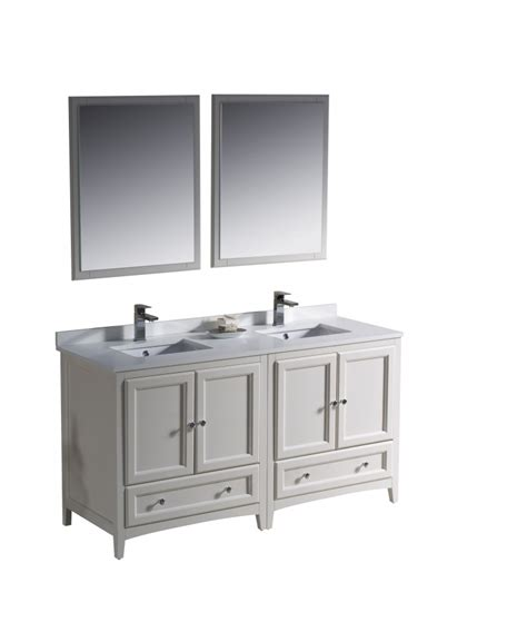 60 Inch Double Sink Bathroom Vanity In Antique White 60 In Sink Bathroom Vanity