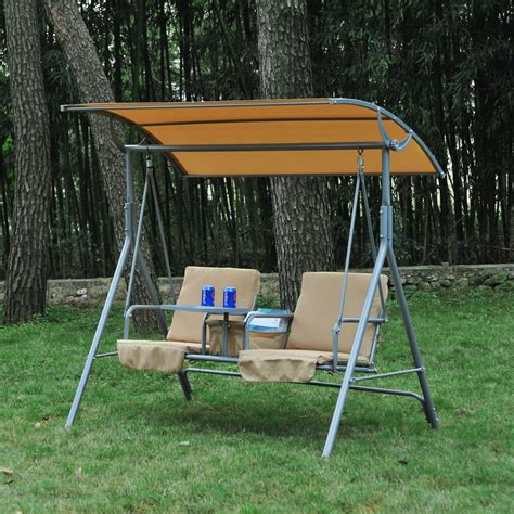 covered patio swing outsunny 2 person covered patio swing w pivot table