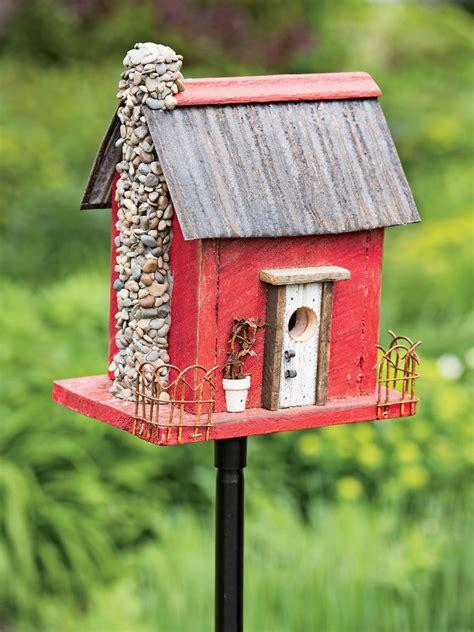buy wooden bird houses wooden bird house red barn wood bird house gardeners com