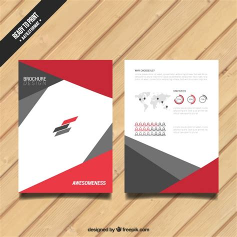 brochure template red brochure with red and grey elements vector free download