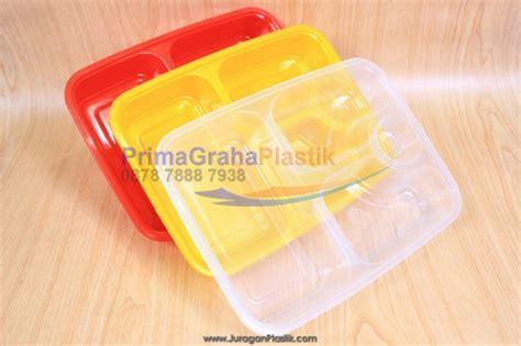 Bento Plastik Fim Sekat Hitam Lunch Box Plastik Food Container fim kotak oven 4 sekat microwaveable freezer merah