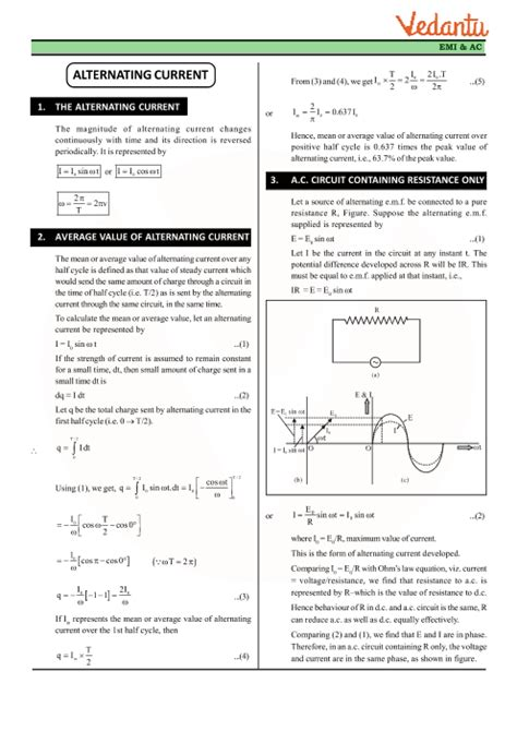 Class 12 Physics Revision Notes For Chapter 7