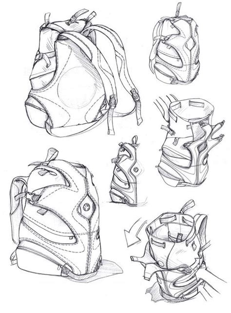 sketchbook backpack layout drawing of leather goods search bags and