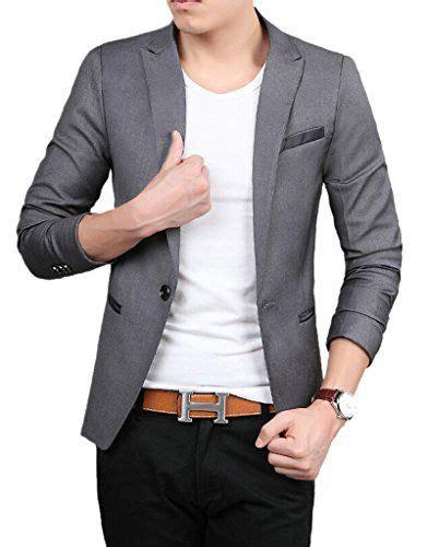 Blazer Pria Jas Pria Grey Stylish tm mens slim fit stylish casual one button suit jacket