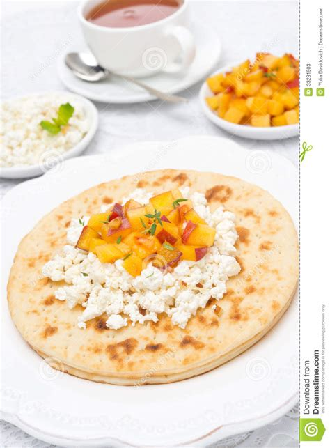 flat bread with cottage cheese honey fresh stock