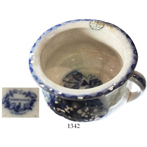 s logo blue and white scottish blue and white porcelain chamber pot intact