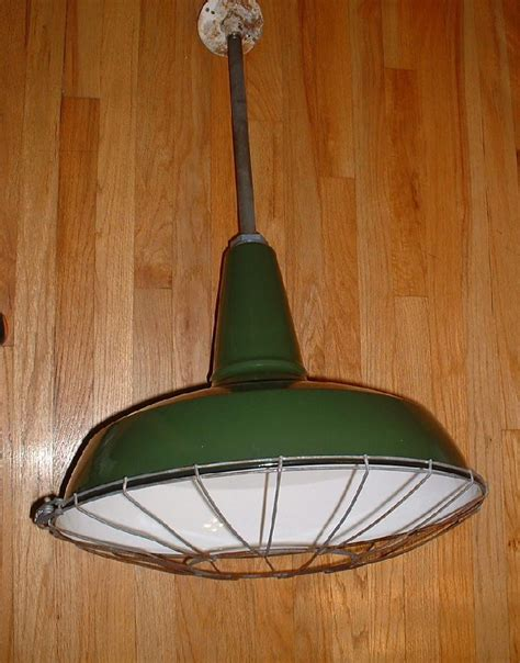barn light with cage 3 1937 20 quot benjamin porcelain pendant industrial green