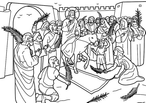 為孩子們的著色頁 entry of jesus christ into jerusalem coloring pages