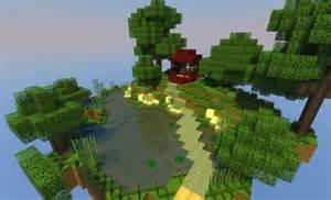 floating japanese island garden in minecraft