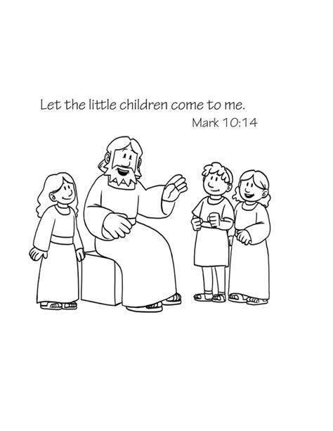 free bible coloring page jesus loves children