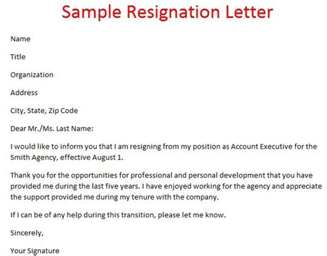Resignation Letter Sle Agency 17 Best Ideas About Resignation Letter Format On Professional Resignation Letter