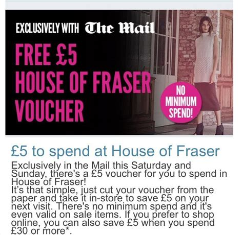 printable house of fraser vouchers free 163 5 house of fraser voucher with daily mail