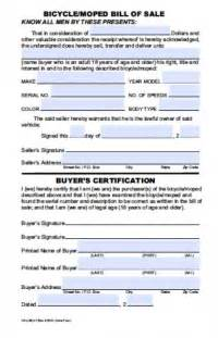 free hawaii bicycle moped bill of sale form pdf word