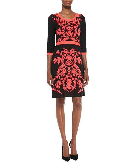 Sleeve Patterned Dress misook 3 4 sleeve patterned front dress s