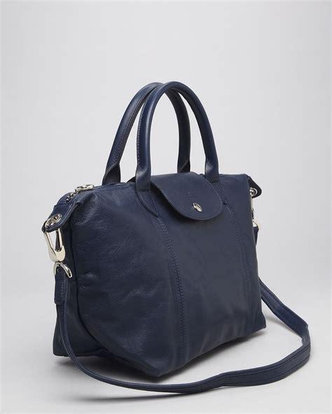 Longc Cuir Medium Black longch satchel le pliage cuir medium in purple lyst