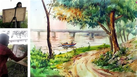watercolor river tutorial how to paint river scape in watercolour watercolor