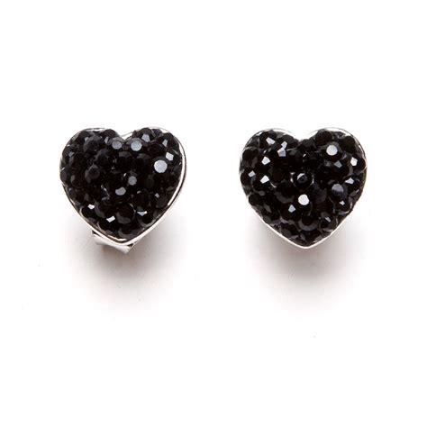 womens black diamante silver plated stud earrings